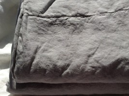 Pure Flax Linen 4 PC Bedding Set, King Size, Light Gray, with Hemstitch Details - $192.00