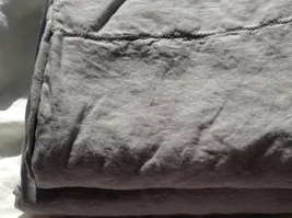 Pure Flax Linen 4 PC Bedding Set, Queen Size, Light Gray, with Hemstitch Details - $176.00