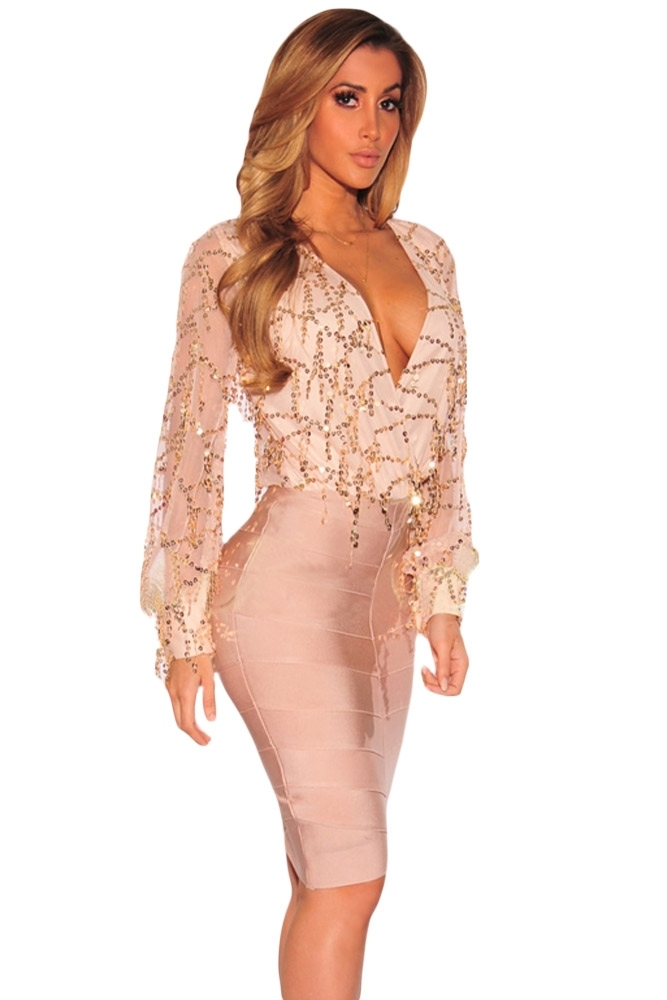 ebbe4a33d9f Apricot Flowing Sequins Long Sleeves and 50 similar items