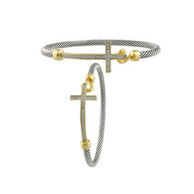 GORGEOUS 18kt Gold Plated CZ Crystals Cross Silver Cable Bracelet - $29.99