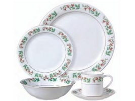 Classic Holiday Gold Holly And Berries 20 Piece Porcelain Dinnerware Set - $299.99