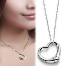 USA Fashion Silver Plated Chain Heart Shape Women Necklace Heart Pendant - $8.90