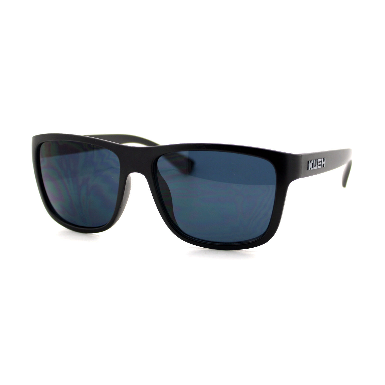 KUSH Sunglasses Square Rectangular Black Frame Unisex Dark Lens