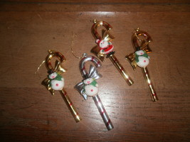 Plastic Gold and Silver Candy Cane Christmas Ornaments , Snowman , Santa - $2.00