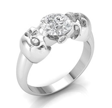 Skull Engagement Ring in 14 k Gold with White M... - $1,595.00