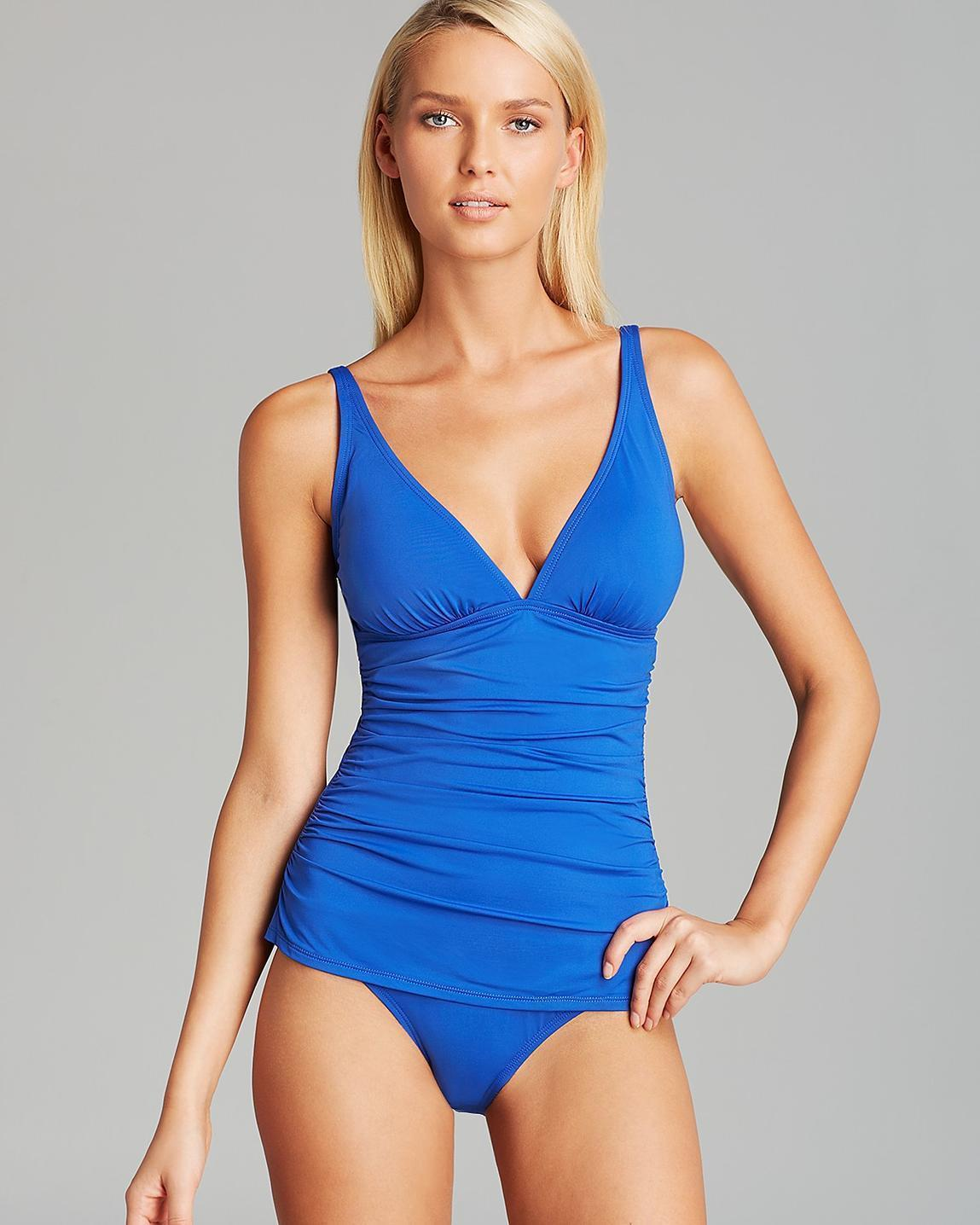 8cd00411abc NEW Tommy Bahama Pearl Solids V Neck One Piece Swimsuit size 4 Royal Blue  $130 - $63.35