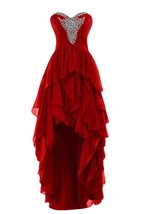 High Low Dark Red Prom Dress,Homecoming Dress,Party Dress, Graduation Dress - $159.00