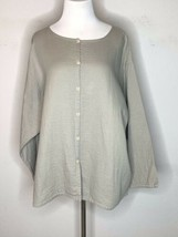 Eileen Fisher Woman Womens Blouse Textured Open Front Beige Button Front... - $39.95