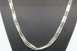 Sterling Silver Unique Three Row Necklace 9.9g #20007 - $29.69