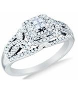 14K White Gold Diamond Ladies Bridal Engagement Ring .51 ct Size 7 - $519.01