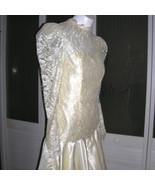 Vintage Couture Asymmetrical Satin Over Lace Bustier Dress Bridal Weddin... - $72.79