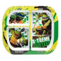 Ninja Turtles-3 section melamine divided plate - $6.00