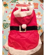 Celebrate It Dog Puppy Hooded Santa Suit Costume Velour Sweater Large Br... - $10.99
