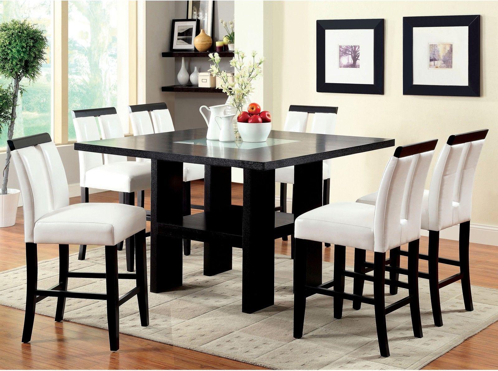 Dining room set counter height chairs black white faux for Black dining room set