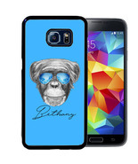 PERSONALIZED CASE FOR SAMSUNG NOTE 9 8 5 4 RUBBER COVER BLUE COOL MONKEY - $13.98