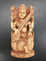 """6"""" Rare Hindu Goddess Sarasvati Statue wooden Maa Mata Saraswati Free Sh... - $73.59"""