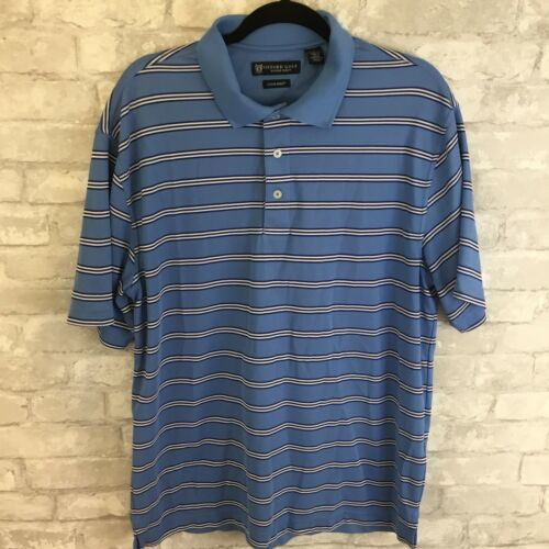 Mens OXFORD GOLF Super Dry Coolmax Striped Polo Shirt L