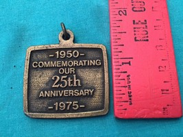 Vintage Brass 1975 Keychain Commemorating 25th ... - $7.50