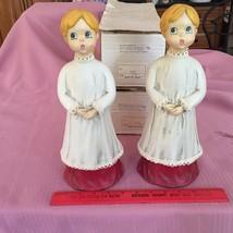 Vintage Pair Paper Mache Holiday Choir Girls Wh... - $25.66