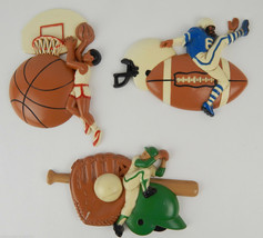 BURWOOD VINTAGE PLASTIC SPORTS HANGING WALL PLAQUES KIDS ROOM BASEBALL F... - $23.36