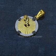 Men's Exclusive Jaguar Round Gold 916 22k Yellow gold CZ studded & Rhodi... - $2,267.10