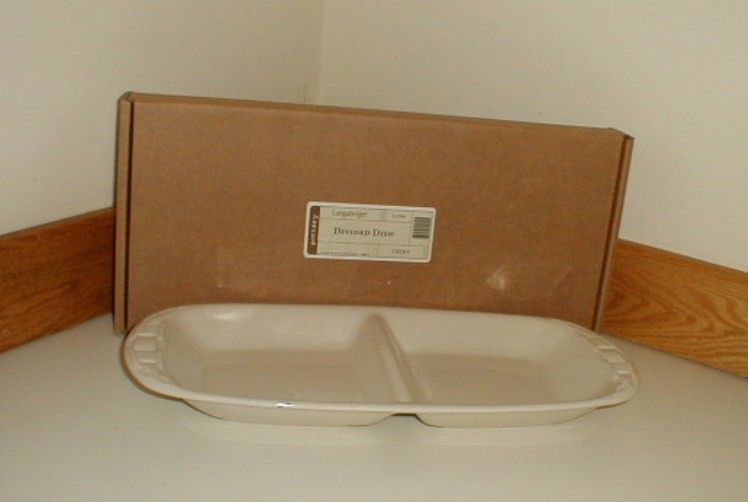 Longaberger Divided Dish Plate Tray Ivory New In Box USA Vitrified Pottery