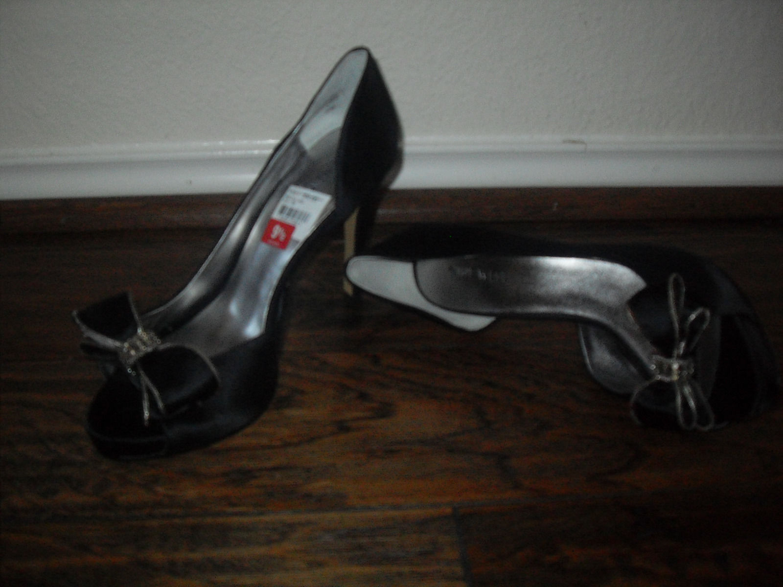 Nine West New Womens Loveland Black Satin Bow Open-Toe  D' Orsay Heel Shoes 9.5M