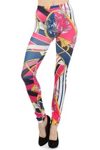 Women Paris with Tassels and Nautical Stripes Printed Seamless Leggings - $15.99