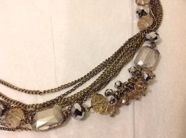 NEW Brass Toned Multistrand Necklace Faceted Crystals Adjustable Lobster Clasp image 4