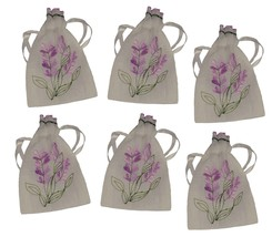 20 New Lavender Embroidered Semi Sheer Translucent Linen Look Weave Draw... - $32.50