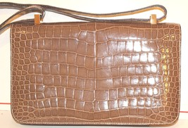 Vintage Hermes  Alligator Crocodile  Handbag Purse clutch image 3
