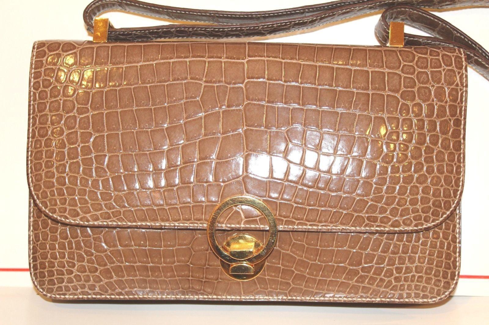 Vintage Hermes  Alligator Crocodile  Handbag Purse clutch image 6
