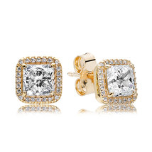 Solid 14K Yellow Gold Timeless Elegance with Clear Cz Stud Earrings QJCB1073 - $168.99