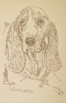 Basset Hound Dog Art #37 Kline Drawn From Words Your Dogs Name Added Free. Gift - $49.95