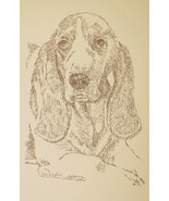 BASSET HOUND DOG ART #37 Kline DRAWN FROM WORDS Your dogs name added fre... - $49.95