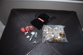 Monopoly Championship Edition Pewter   Board Game Pieces, Dice, Bag, Houses - $14.84
