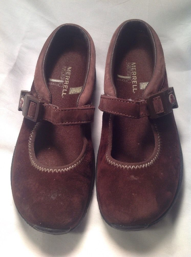 Merrell Brown Suede Ortholite Q Form Air Cushion Mary Jane Mules SZ 5.5M