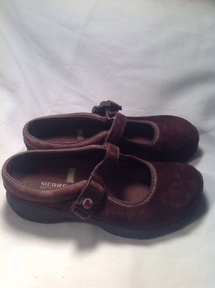 Merrell Brown Suede Ortholite Q Form Air Cushion Mary Jane Mules SZ 5.5M image 2