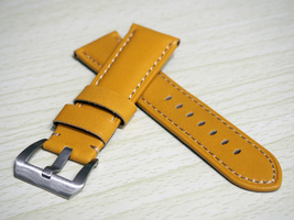 24mm Yellow Calfskin Genuine Leather Watch Band Strap for Panerai or Any... - $38.99