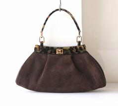 Salvatore Ferragamo mini Suede Tote Handbag Pouch turtle trim Authentic ... - $580.00