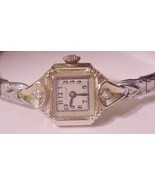 14K BULOVA 17J Watch Yellow Gold 2 Diamonds Dec... - $593.95