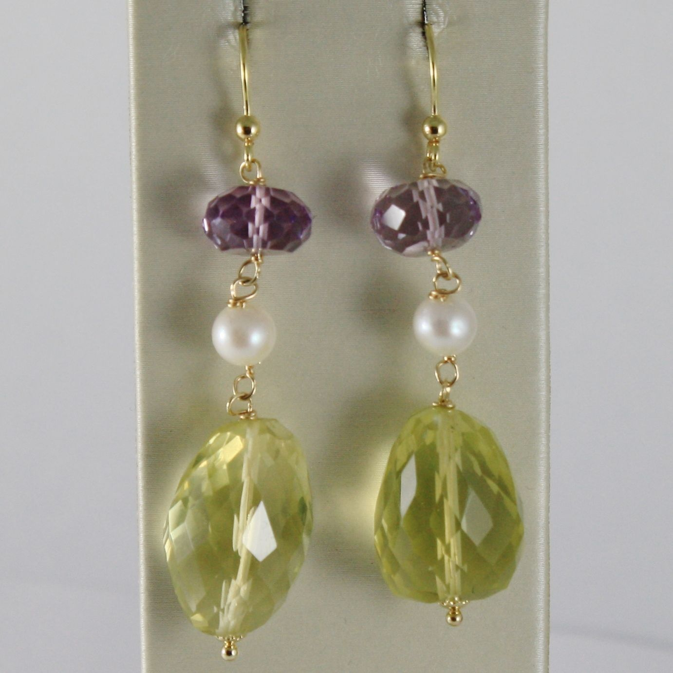 SOLID 18K YELLOW GOLD PENDANT EARRINGS WITH CUSHION AMETHYST LEMON QUARTZ PEARLS