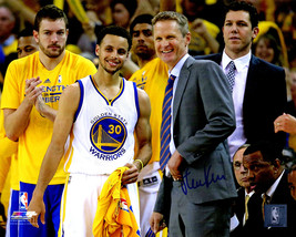Steve Kerr Signed Golden State Warriors Standing With Stephen Curry 8x10... - $80.00