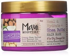 Maui Moisture Shea Butter Hair Mask 12 Ounce Jar Heal/Hydrate 354ml 2 Pack