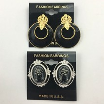 Vintage Cameo Style Gothic Theme Pierced Earrings Lot Black Goth NOS 80s... - $12.81