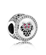 925 Sterling Silver Disney Mickey & Minnie Sparkling Icons Charm Bead QJ... - $22.66