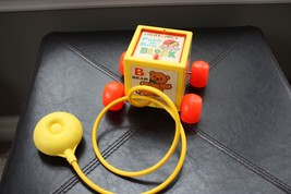 Vintage 1970 Fisher Price Peek A Boo Block Pull Along Toy # 760 Pop Up Baby - $14.99