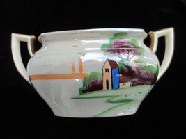 Sugar Bowl with No lid House Tree Scene Doubled - $16.89