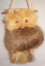 """Vintage Owl Macrame Coconut Fibers Wall Hanging Brown  Handmade 15"""" - $44.99"""