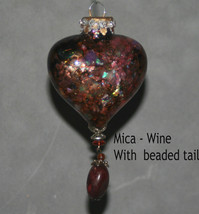 Handcrafted Glass Heart Ornament with Tassel - $20.00